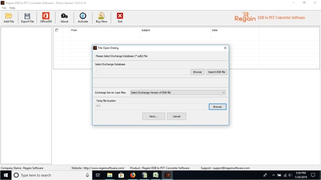 Regain EDB to PST File Converter 15.01.0.19